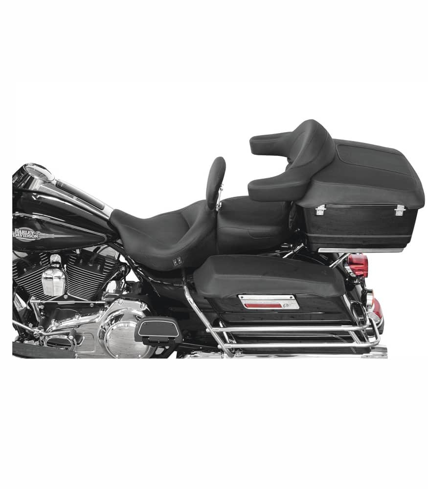 Mustang Tour Pak Lid Covers for Harley-Davidson FL Touring 93-13 Plain Black on a H-D