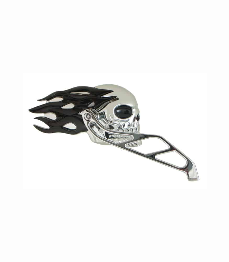 V-Factor Skull and Black Flames Motorcycle Mirrors